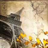 Fototapety Collage carré tour Eiffel romantique rétro