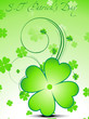abstract green clover with floral