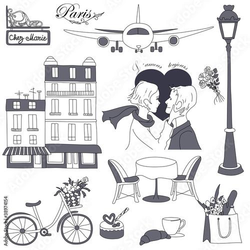 Spoed canvasdoek 2cm dik Doodle Paris travel