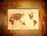 scratch vintage world map. poster