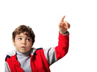 bambino con la mano alzata