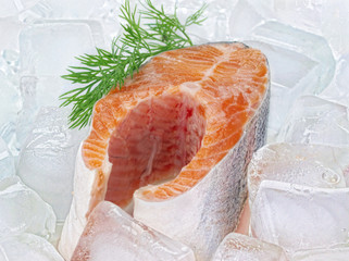 Fresh red fish steak with green leaf on the ice