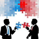 Business people hold collaboration puzzle solution poster