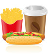 hotdog fries potato and paper cup with coffee