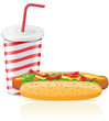 paper cup with soda and hotdog