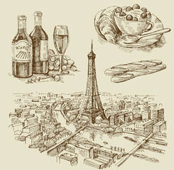 Paris hand drawn