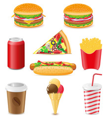 set icons of fast food vector illustration