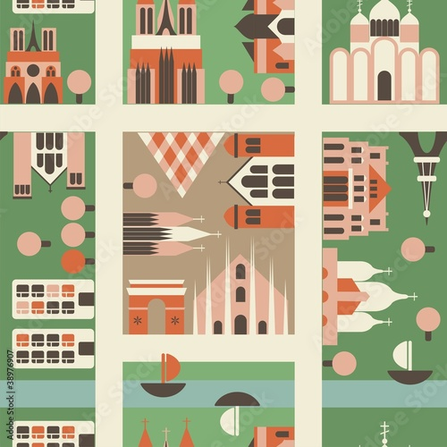Foto Spatwand Op straat seamless european city in vector