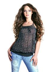 beautiful fashion model  with long hairs