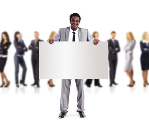 African business man and group holding a banner ad