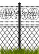 Wire fence with barbed wires. Vector illustration