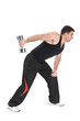 Standing Dumbbell One Arm Triceps Extensions on Fitnes Ball, pha