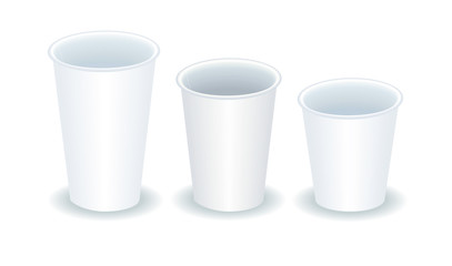 three empty coffee paper cups