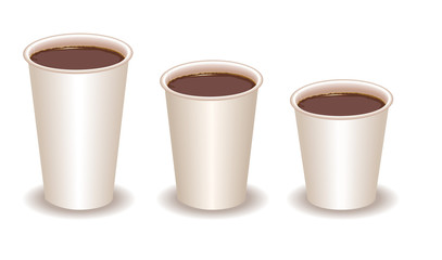 three paper coffee cups filled with cocoa