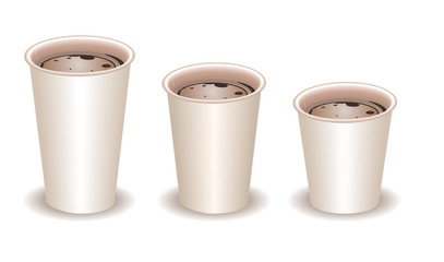 three paper coffee cups filled with coffee