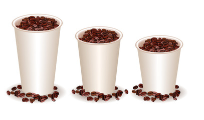 three paper coffee cups filled with coffee beans