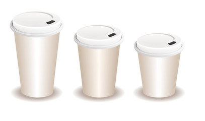 three paper coffee cups with a plastic lid