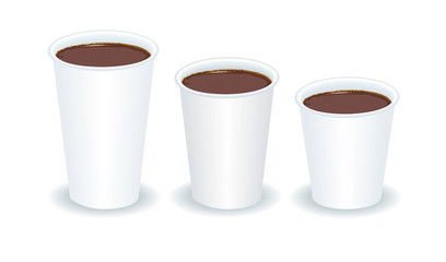 three paper cups filled with coffee
