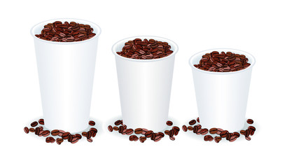 three paper cups filled with coffee beans