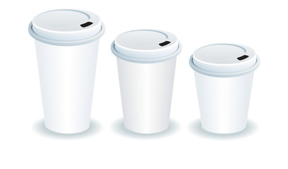three paper cups with plastic lids