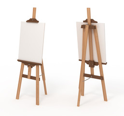 Wooden easel with blank canvas, front and back, isolated