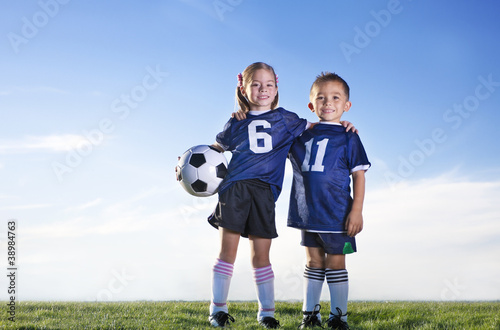 Young Soccer Players on a team