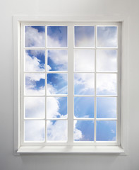 Modern residential window with clouds and light rays