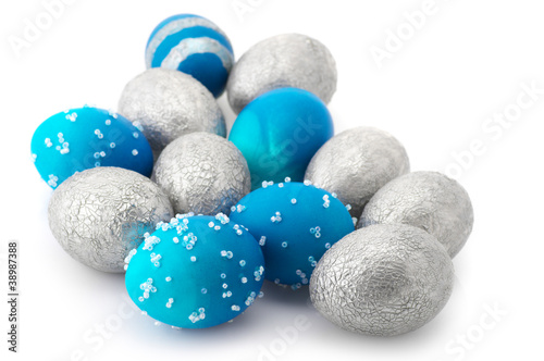 Blue and silver Easter eggs