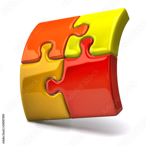 3d illustration of jigsaw puzzles