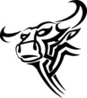 Bull in tribal style - vector vinyl-ready image.