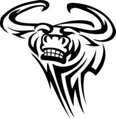 Bull in tribal style - vector vinyl-ready image.
