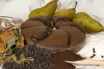 Pear cake and chocolate