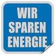 Sticker blau quadrat cur WIR SPAREN ENERGIE