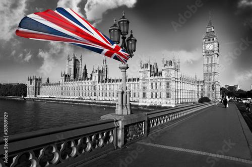 Fototapeta samoprzylepna Big Ben with flag of England, London, UK
