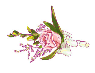 Boutonniere with a pink rose, meadow flowers and bow.