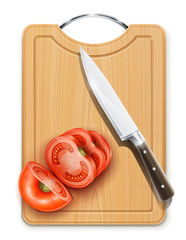 tomato cuted segment with knife on hardboard vector