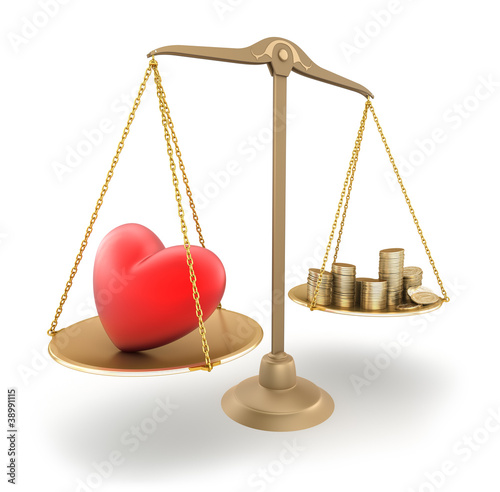 The price of love. 3d concept