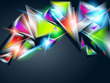 Abstract background from colorful glowing triangles. Vector illu