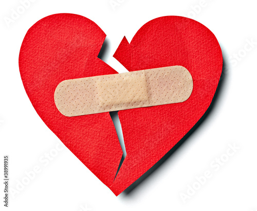 broken heart love relationship and plaster bandage