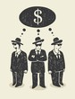 Illustration with a three businessmen thinking about money.