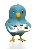 Bluebird with gamepad poster