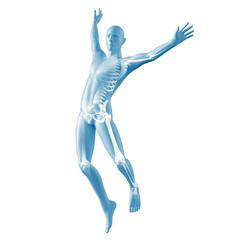 Mann beim Springen Silhouette mit Skelett