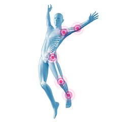 Mann beim Springen Silhouette mit Gelenkschmerzen