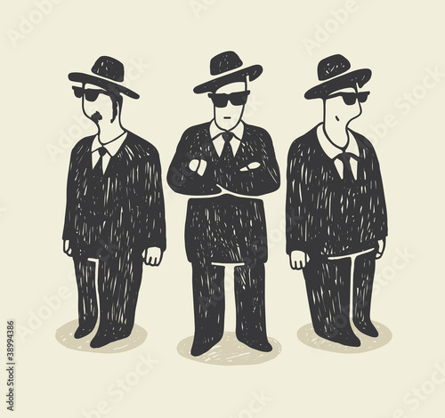 Mafia. Illustration with a team of three success businessmen.