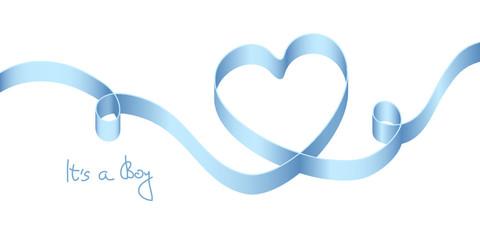 "Satin Bow Blue Heart Birth ""It´s a boy"""