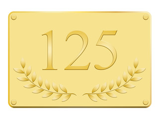 Plaque commémorative 125 en or