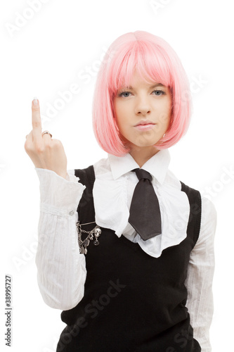 schoolgirl with pink hair showing middle finger