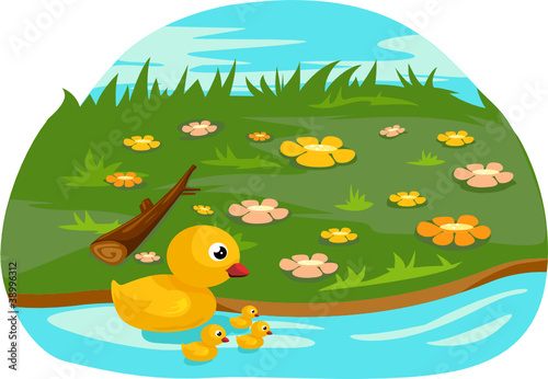 Foto op Canvas Rivier, meer Duck family