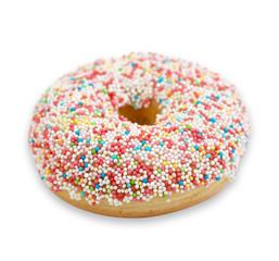 Donut mit bunten Zuckerperlen