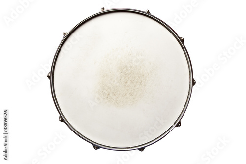 Leinwanddruck Bild Snare drum top view isolated on white